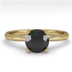 1.0 CTW Black Diamond Engagement Designer Ring 14K Yellow Gold - REF-39K3W - 38456