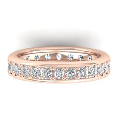 1.33 CTW Certified VS/SI Diamond Eternity Band Men's 14K Rose Gold - REF-127Y6K - 30331