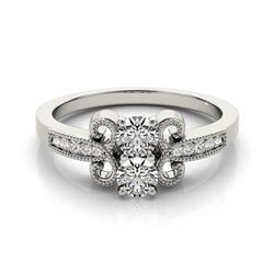0.81 CTW Certified VS/SI Diamond 2 Stone 2 Stone Ring 18K White Gold - REF-132W4F - 28198
