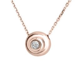 0.10 CTW Certified VS/SI Diamond Necklace 14K Rose Gold - REF-25W8F - 10119