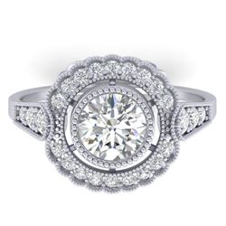 1.55 CTW Certified VS/SI Diamond Solitaire Art Deco Ring 14K White Gold - REF-367K3W - 30537