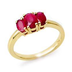 1.0 CTW Ruby Ring 10K Yellow Gold - REF-20T8M - 12584