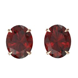 7 CTW Garnet Designer Inspired Solitaire Stud Earrings 14K Rose Gold - REF-27X6T - 21662