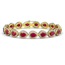 21.69 CTW Ruby & Diamond Halo Bracelet 10K Yellow Gold - REF-315W5F - 41095