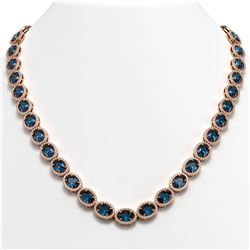 55.41 CTW London Topaz & Diamond Halo Necklace 10K Rose Gold - REF-576W2F - 40590