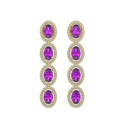 5.56 CTW Amethyst & Diamond Halo Earrings 10K Yellow Gold - REF-103W3F - 40543