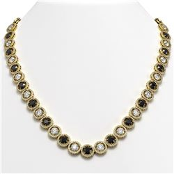 35.55 CTW Black & White Diamond Designer Necklace 18K Yellow Gold - REF-3583Y3K - 42697