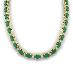 55.5 CTW Emerald & VS/SI Certified Diamond Eternity Necklace 10K Yellow Gold - REF-425K5W - 29423