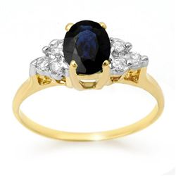1.41 CTW Blue Sapphire & Diamond Ring 14K Yellow Gold - REF-26N4Y - 13733