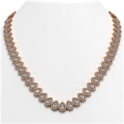 42.11 CTW Pear Diamond Designer Necklace 18K Rose Gold - REF-7805Y3K - 42822