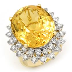 20.0 CTW Citrine & Diamond Ring 14K Yellow Gold - REF-202W2F - 14338