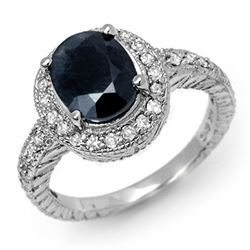 3.10 CTW Blue Sapphire & Diamond Ring 14K White Gold - REF-89F3N - 11928