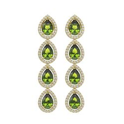 7.88 CTW Tourmaline & Diamond Halo Earrings 10K Yellow Gold - REF-178A5X - 41161