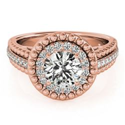 1.15 CTW Certified VS/SI Diamond Solitaire Halo Ring 18K Rose Gold - REF-217W3F - 26570