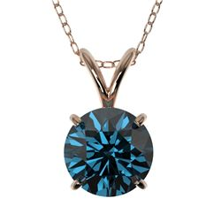 1.28 CTW Certified Intense Blue SI Diamond Solitaire Necklace 10K Rose Gold - REF-240M2H - 36789