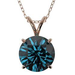 2 CTW Certified Intense Blue SI Diamond Solitaire Necklace 10K Rose Gold - REF-343F2N - 33237