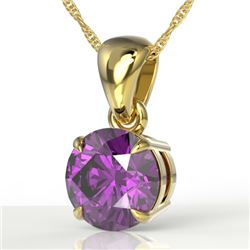 2 CTW Amethyst Designer Inspired Solitaire Necklace 18K Yellow Gold - REF-24W9F - 22010