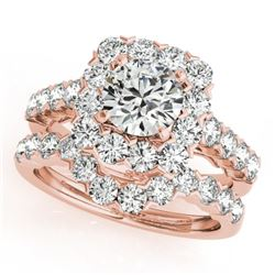 2.12 CTW Certified VS/SI Diamond 2Pc Wedding Set Solitaire Halo 14K Rose Gold - REF-187X3T - 30667