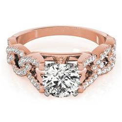 1 CTW Certified VS/SI Diamond Solitaire Wedding Ring 18K Rose Gold - REF-149M6H - 27832