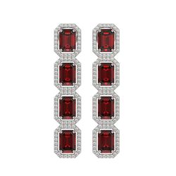 12.73 CTW Garnet & Diamond Halo Earrings 10K White Gold - REF-146M9H - 41471