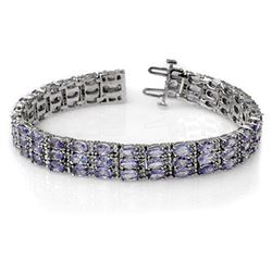 18.26 CTW Tanzanite & Diamond Bracelet 14K White Gold - REF-396K9W - 11656