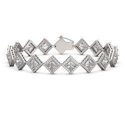13.5 CTW Princess Cut Diamond Designer Bracelet 18K White Gold - REF-2508K4W - 42851