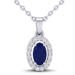 0.51 CTW Sapphire & Micro Pave VS/SI Diamond Necklace Halo 18K White Gold - REF-25M5H - 21327