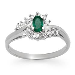 0.45 CTW Emerald & Diamond Ring 14K White Gold - REF-25Y8K - 12507
