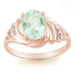 2.04 CTW Aquamarine & Diamond Ring 14K Rose Gold - REF-39M3H - 11552