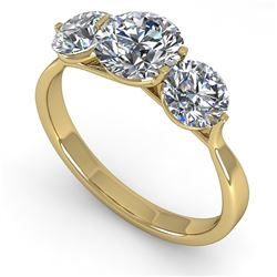 2 CTW Past Present Future Certified VS/SI Diamond Ring Martini 18K Yellow Gold - REF-408X6T - 32257