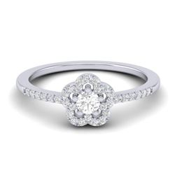 0.35 CTW Micro Pave VS/SI Diamond Ring Moon Halo In 10K White Gold - REF-27W5F - 21414