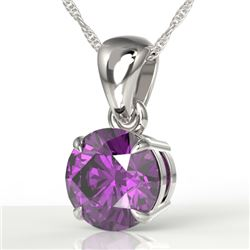 2 CTW Amethyst Designer Inspired Solitaire Necklace 18K White Gold - REF-24H9A - 22009