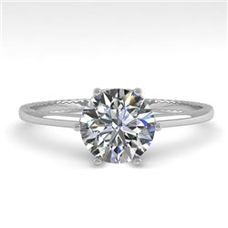 1.01 CTW Certified VS/SI Diamond Engagement Ring 18K White Gold - REF-286A3X - 35889