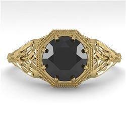 1.50 CTW Black Certified Diamond Engagement Ring Deco Size 7 18K Yellow Gold - REF-67W3F - 36055