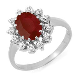 1.22 CTW Ruby & Diamond Ring 18K White Gold - REF-43A3X - 12513