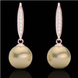 0.18 CTW Micro Pave VS/SI Diamond & Golden Pearl Designer Earrings 14K Rose Gold - REF-30Y9K - 22633