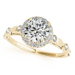 1 CTW Certified VS/SI Diamond Solitaire Halo Ring 18K Yellow Gold - REF-185F5N - 26412