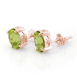 2.0 CTW Peridot Solitaire Stud Earrings 14K Rose Gold - REF-23K3W - 10279