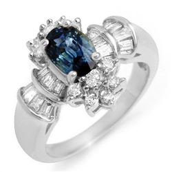 2.25 CTW Blue Sapphire & Diamond Ring 18K White Gold - REF-87X3T - 10575
