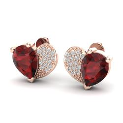 2.50 CTW Garnet & Micro Pave VS/SI Diamond Earrings 10K Rose Gold - REF-30T2M - 20074