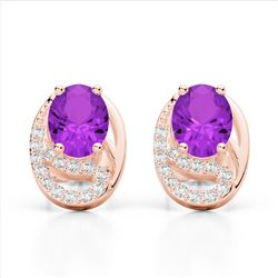 2.50 Amethyst & Micro Pave VS/SI Diamond Stud Earrings 10K Rose Gold - REF-25H6A - 22322
