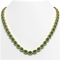 34.11 CTW Emerald & Diamond Halo Necklace 10K Yellow Gold - REF-562F9N - 40402
