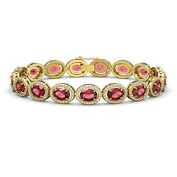 21.71 CTW Tourmaline & Diamond Halo Bracelet 10K Yellow Gold - REF-338X9T - 40621
