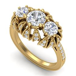 2.26 CTW VS/SI Diamond Solitaire Art Deco 3 Stone Ring 18K Yellow Gold - REF-345H5A - 37003