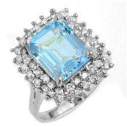 5.10 CTW Blue Topaz & Diamond Ring 18K White Gold - REF-96T8M - 13202