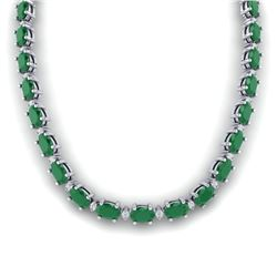 55.5 CTW Emerald & VS/SI Certified Diamond Eternity Necklace 10K White Gold - REF-425M5H - 29422