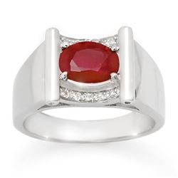 2.33 CTW Ruby & Diamond Men's Ring 10K White Gold - REF-47W6F - 14494