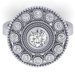 0.91 CTW Certified VS/SI Diamond Art Deco Ring 14K White Gold - REF-160A2X - 30462