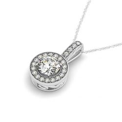 0.5 CTW Certified SI Diamond Solitaire Halo Necklace 14K White Gold - REF-60K2W - 30001