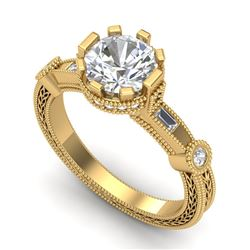 1.71 CTW VS/SI Diamond Solitaire Art Deco Ring 18K Yellow Gold - REF-536H4A - 37063